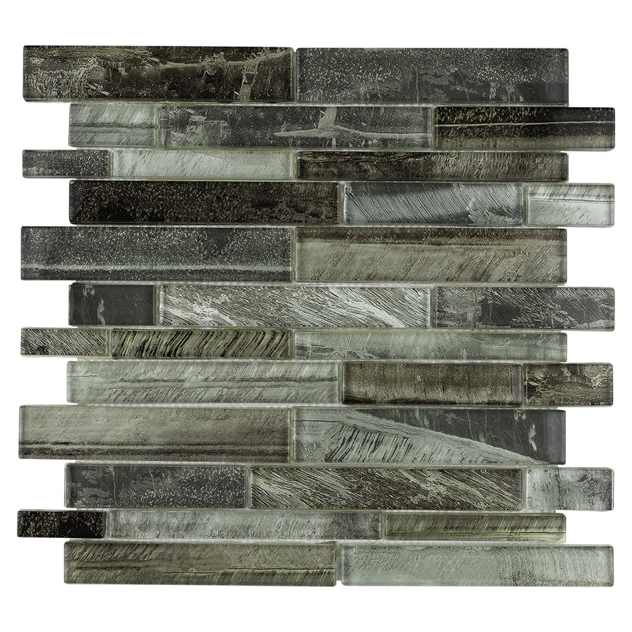 allen roth shimmering lights 12 in x 12 in glossy glass linear wall tile