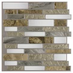 Stick On Backsplash Tiles For Kitchen Moen Chateau Faucet Peel Mosaics And Mountain Terrain 10 In X Composite Linear