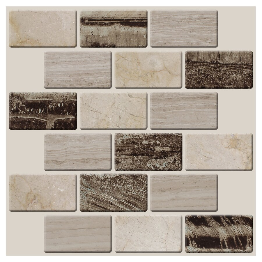 peel stick mosaics peel and stick 4 pack natural cascades 10 in x 10 in glossy composite linear peel and stick tile lowes com