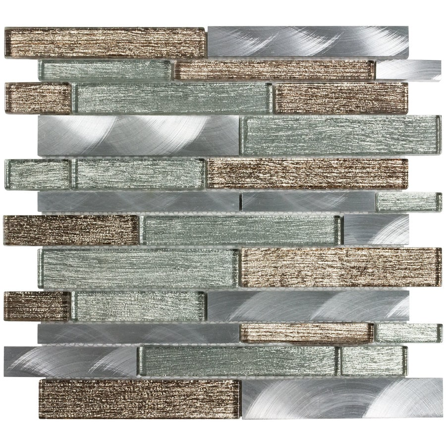 elida ceramica sparkling river 12 in x 12 in glossy glass metal linear wall tile