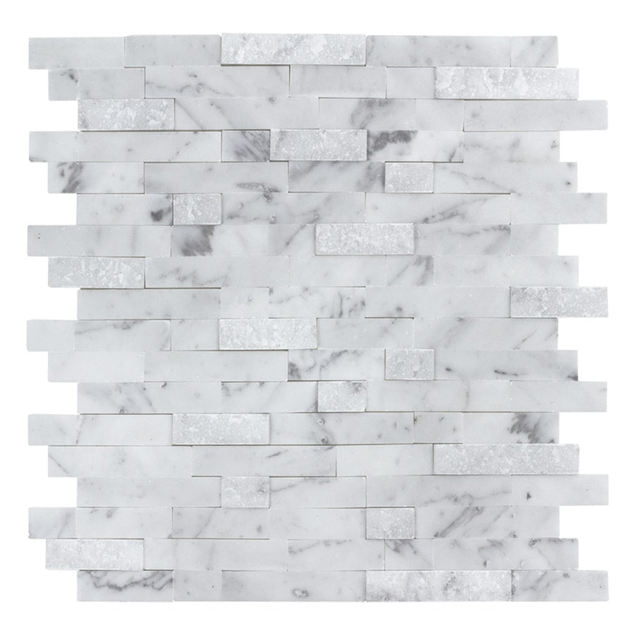 peel stick mosaics peel and stick stacked carrara 12 in x 12 in multi finish natural stone linear marble look peel and stick wall tile lowes com