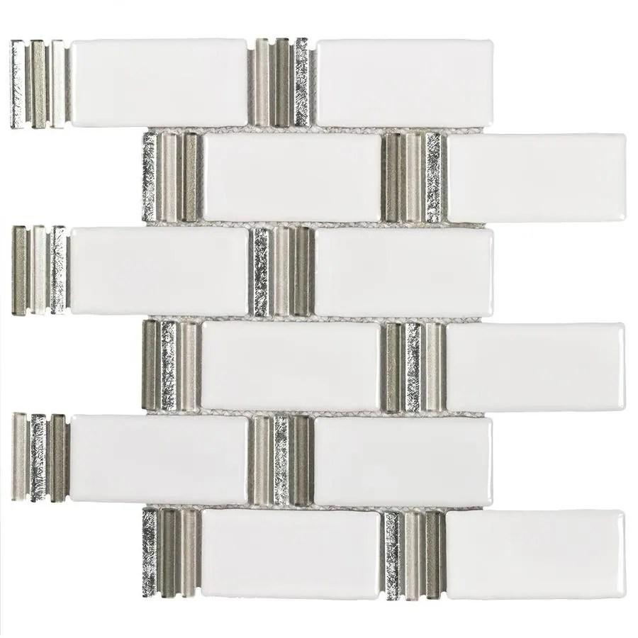 elida ceramica sierra metallic subway 12 in x 12 in glazed ceramic brick wall tile