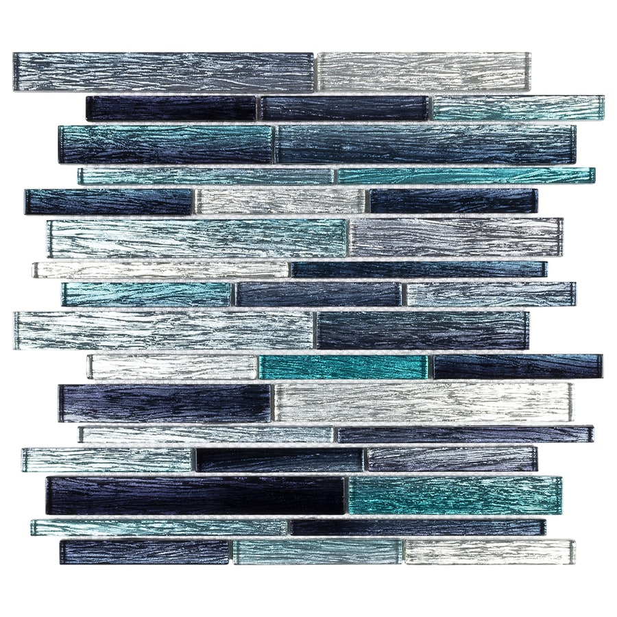 elida ceramica sparkle ocean blue 12 in x 13 in glossy glass linear wall tile