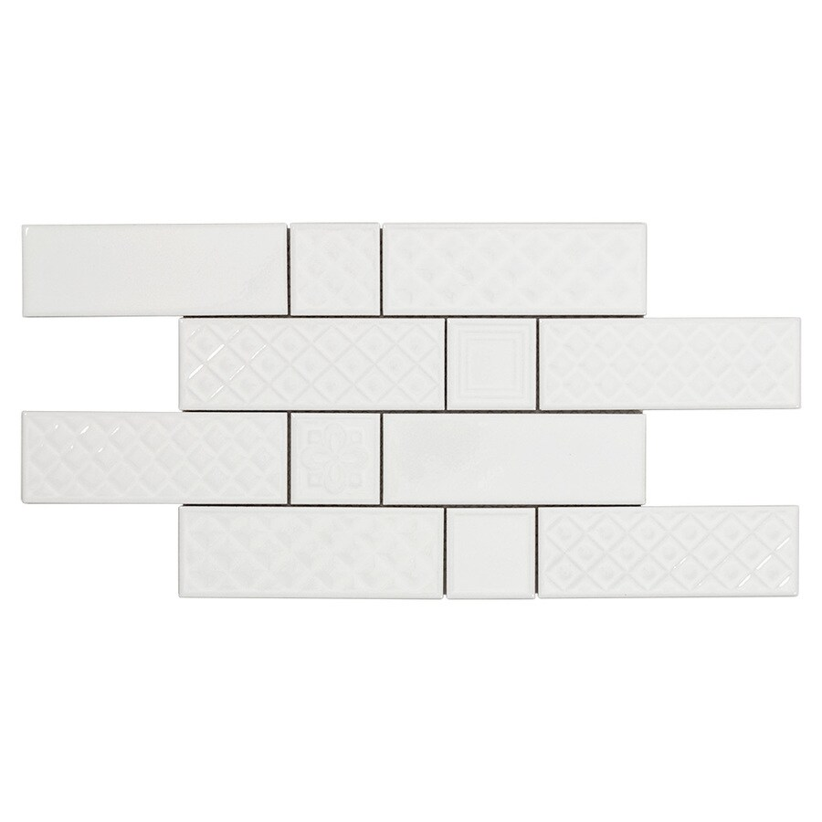 boutique ceramic boutique white 9 in x 15 in glazed ceramic brick subway wall tile