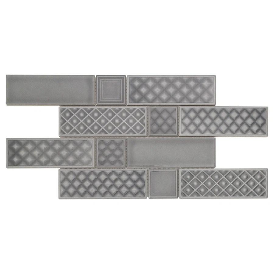boutique ceramic boutique gray 9 in x 15 in glazed ceramic brick subway wall tile