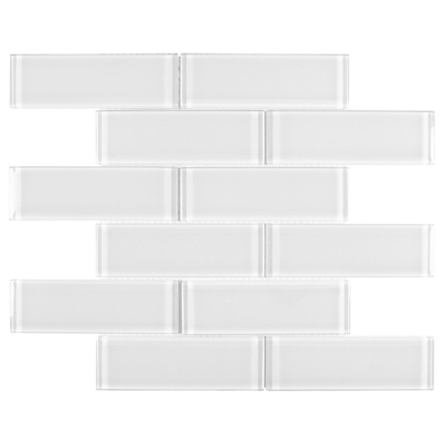 elida ceramica 2x6 super white mos glass 12 in x 12 in glossy glass brick subway wall tile