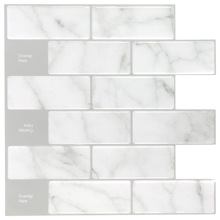 peel stick mosaics peel and stick mosaic carrara subway 10 in x 10 in glossy composite linear peel and stick wall tile