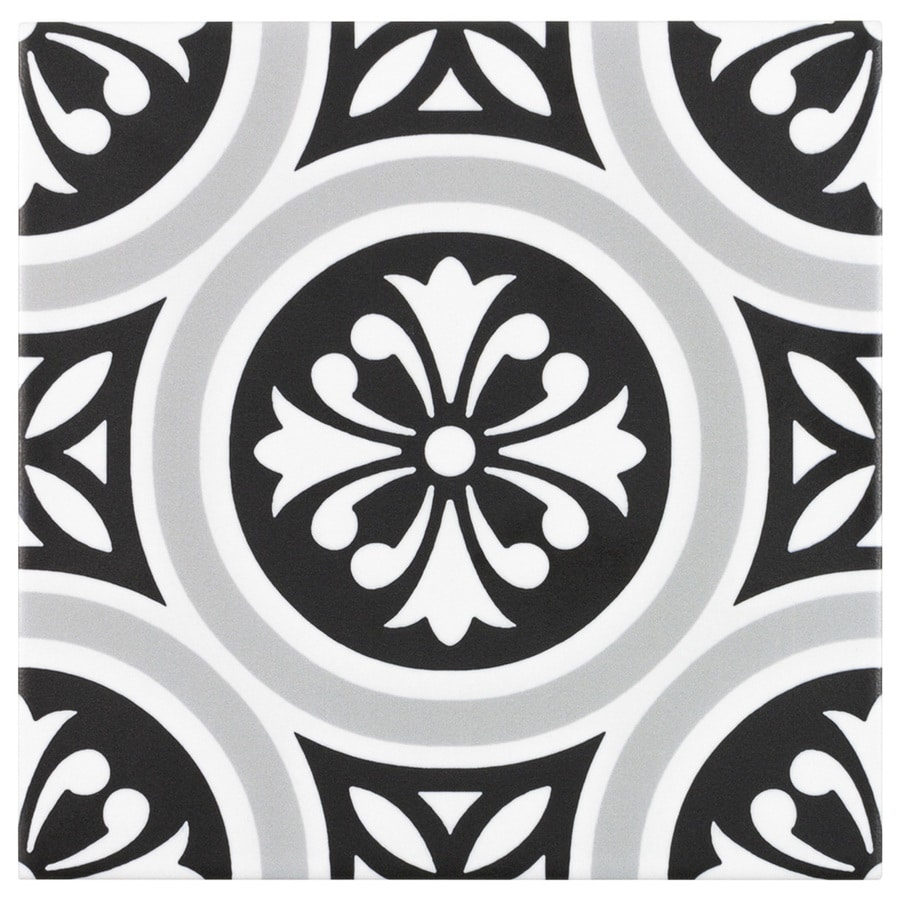 boutique ceramic midnight metro black and white and grey 6 in x 6 in matte porcelain encaustic floor and wall tile