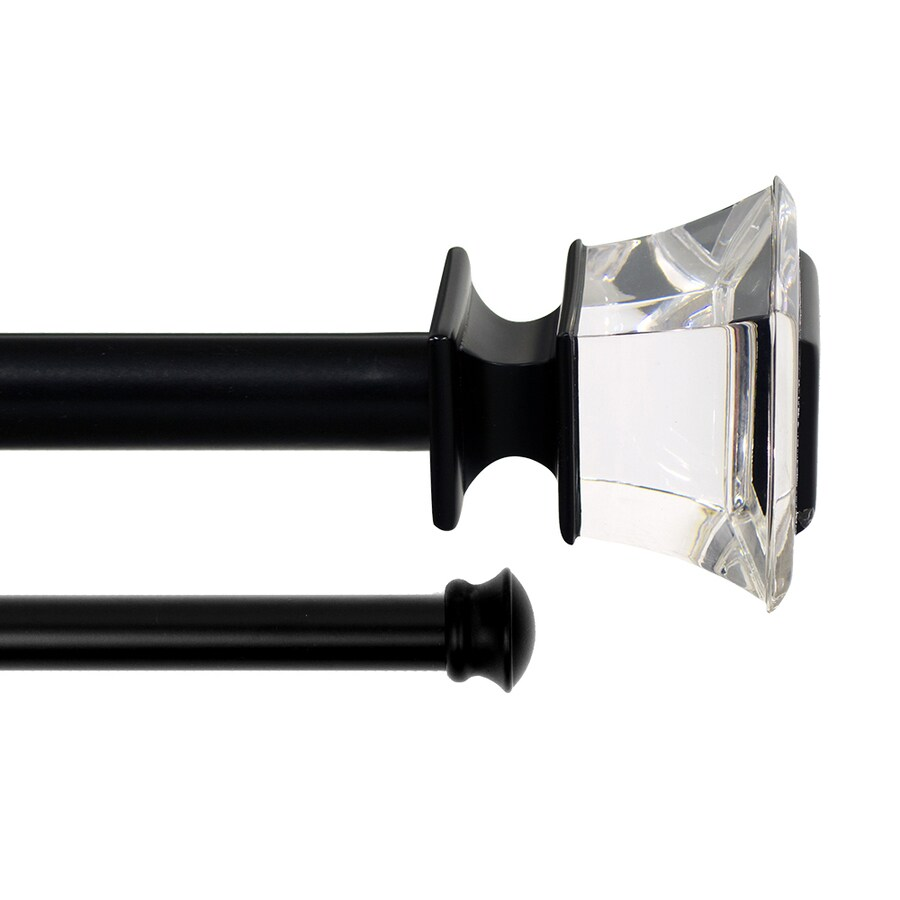 lumino 48 in to 120 in black steel double curtain rod with finials