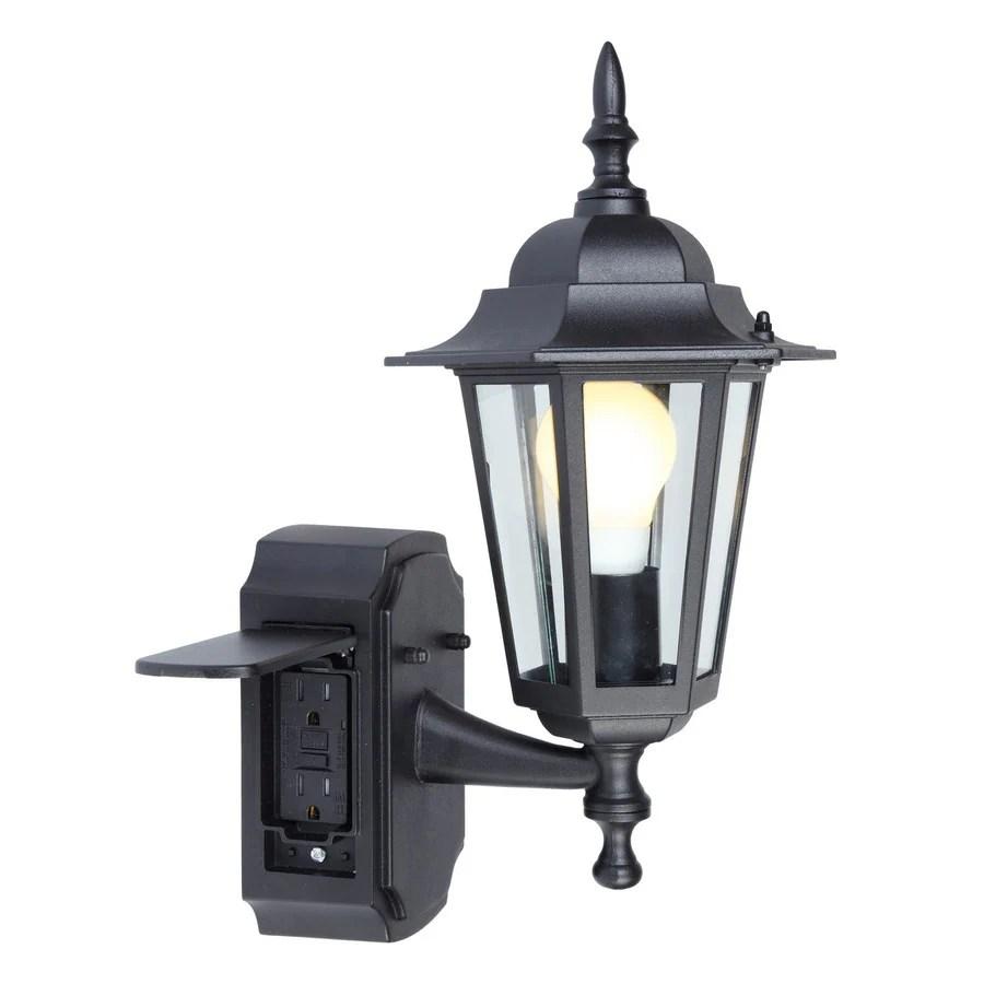 hight resolution of portfolio gfci 15 75 in h black outdoor wall light