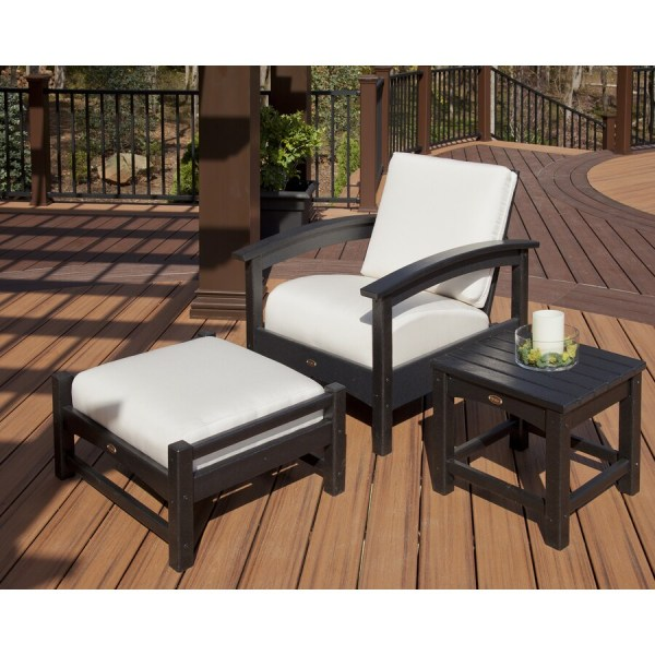Trex Outdoor Furniture Rockport Plastic Conversation Chair With Charcoal Black Bird' Eye