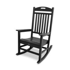 Black Rocking Chair Chairs Trex Outdoor Furniture Yacht Club Plastic With Slat At