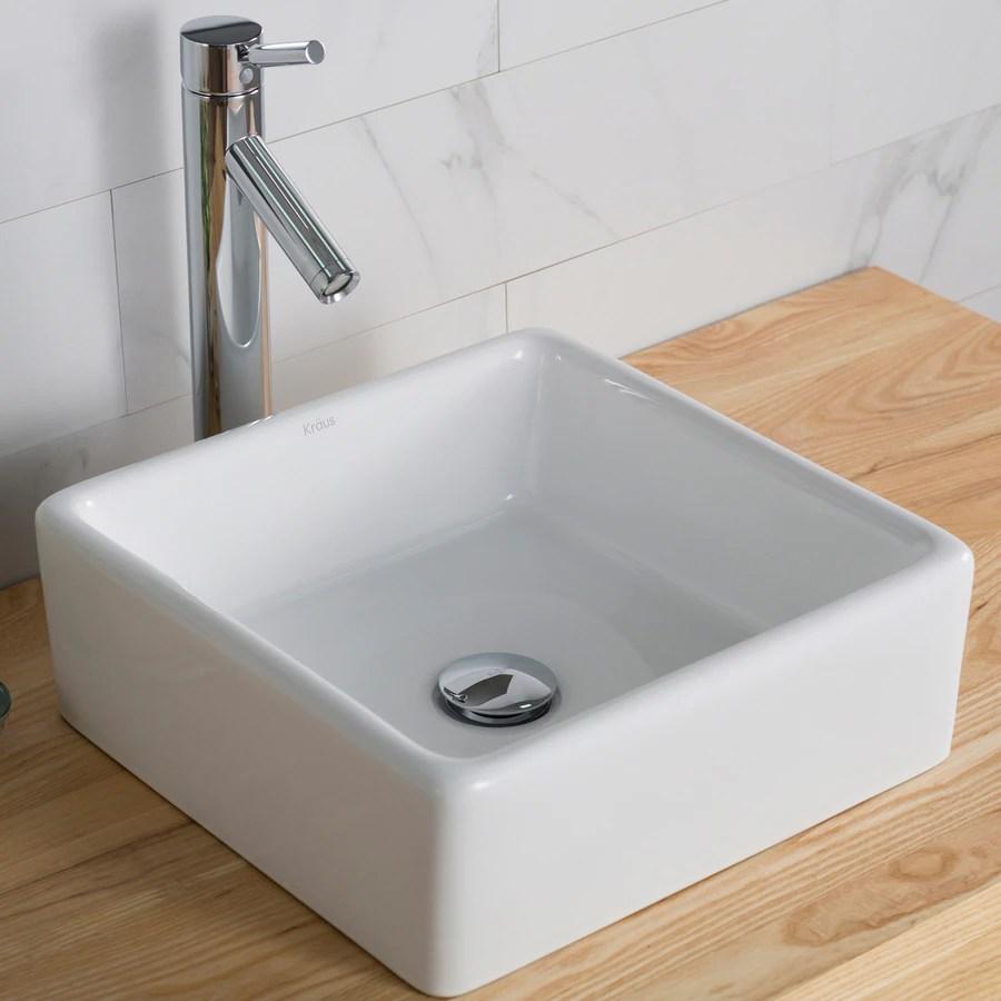 Kraus Elavo White Vessel Square Bathroom Sink at Lowescom