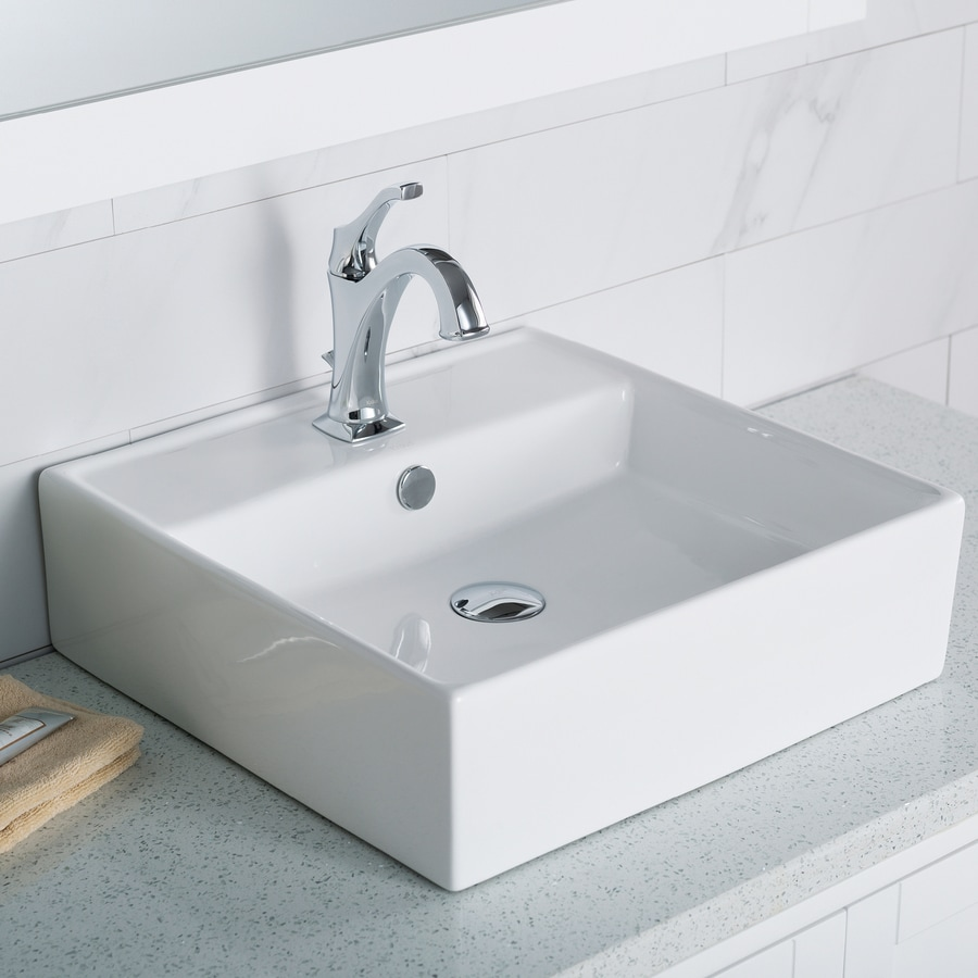 Shop Kraus White Vessel Square Bathroom Sink with Overflow