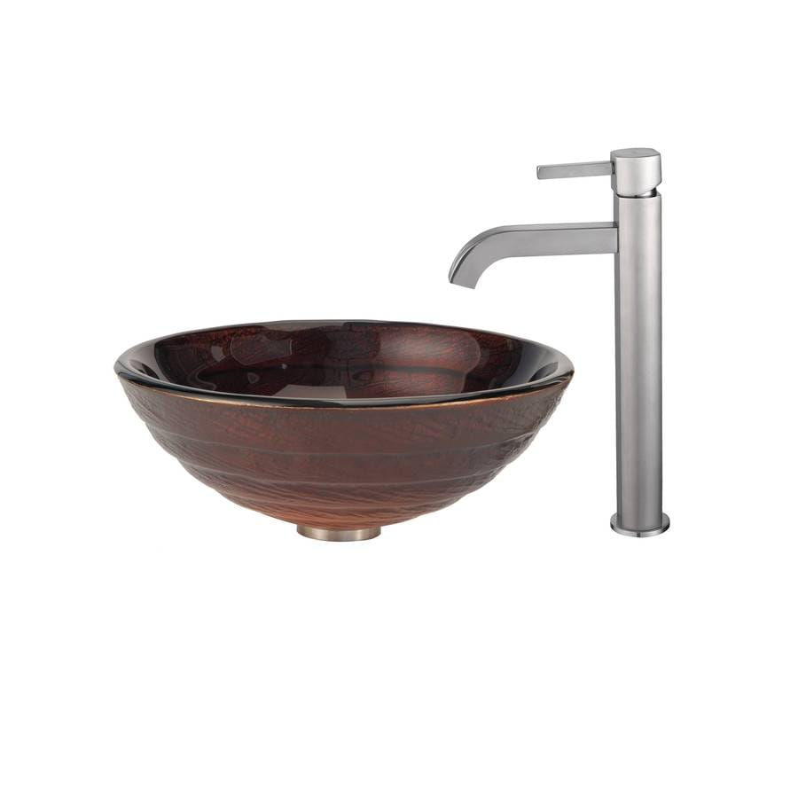 kraus kitchen faucets cabinets in kansas city shop copper multicolor glass vessel round bathroom ...