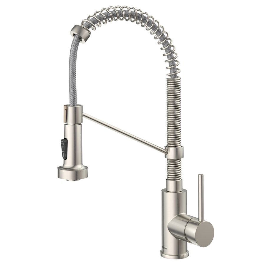 stainless steel kitchen faucets l shaped table at lowes com kraus bolden 1 handle pull down faucet
