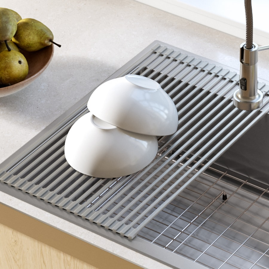 kraus 12 7 in x 20 5 in silicone sink mat