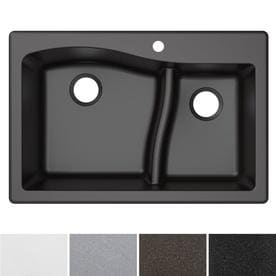black sink kitchen hardware for white cabinets sinks at lowes com kraus quarza 33 in x 22 double basin drop