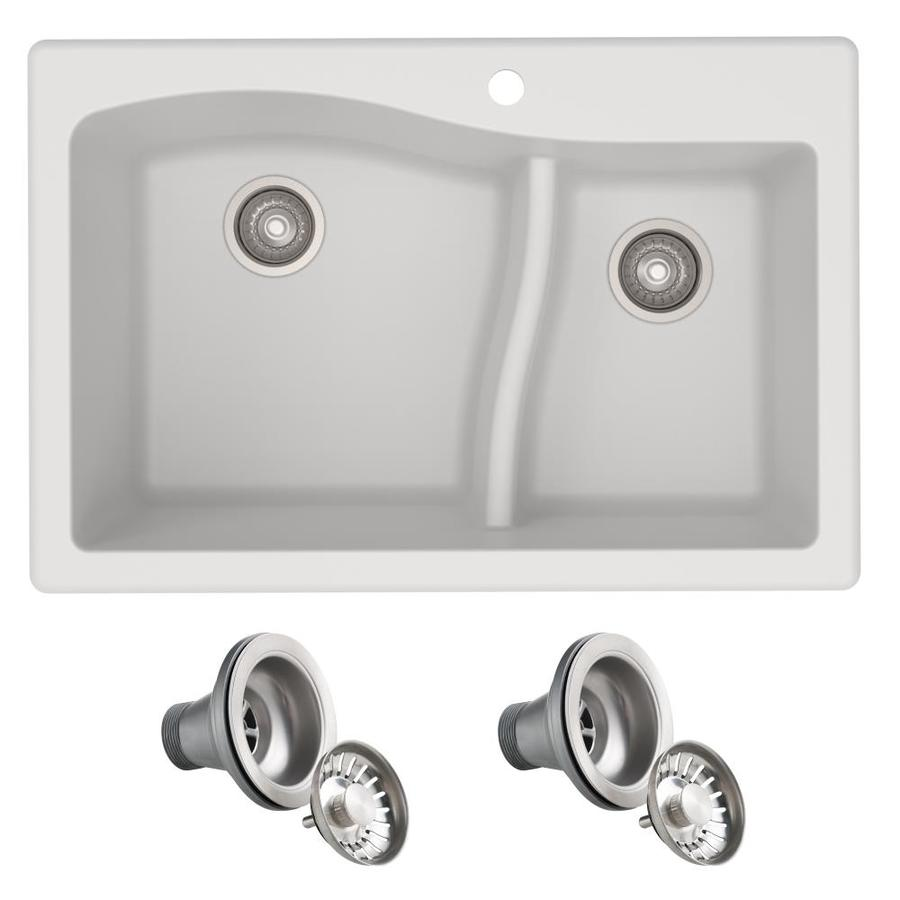 kraus quarza 33 in x 22 in white double offset bowl drop in or undermount 4 hole commercial residential kitchen sink in the kitchen sinks department at lowes com