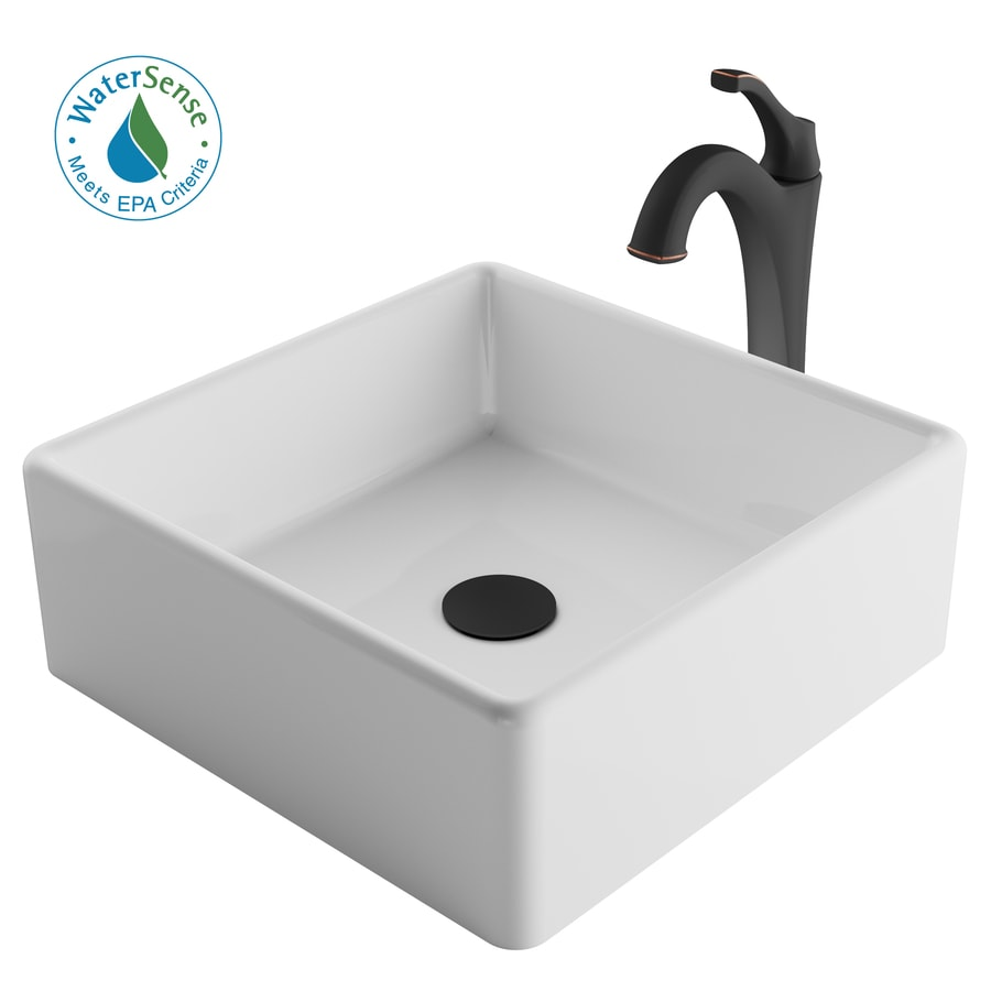 kraus white ceramic vessel square bathroom sink with faucet drain included 15 in x 15 in