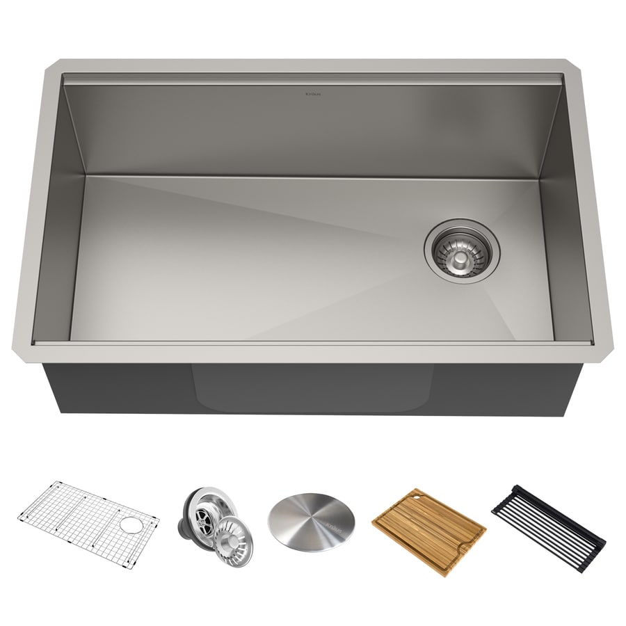 kraus kore workstation undermount 30 in x 19 in stainless steel single bowl workstation kitchen sink all in one kit with drainboard