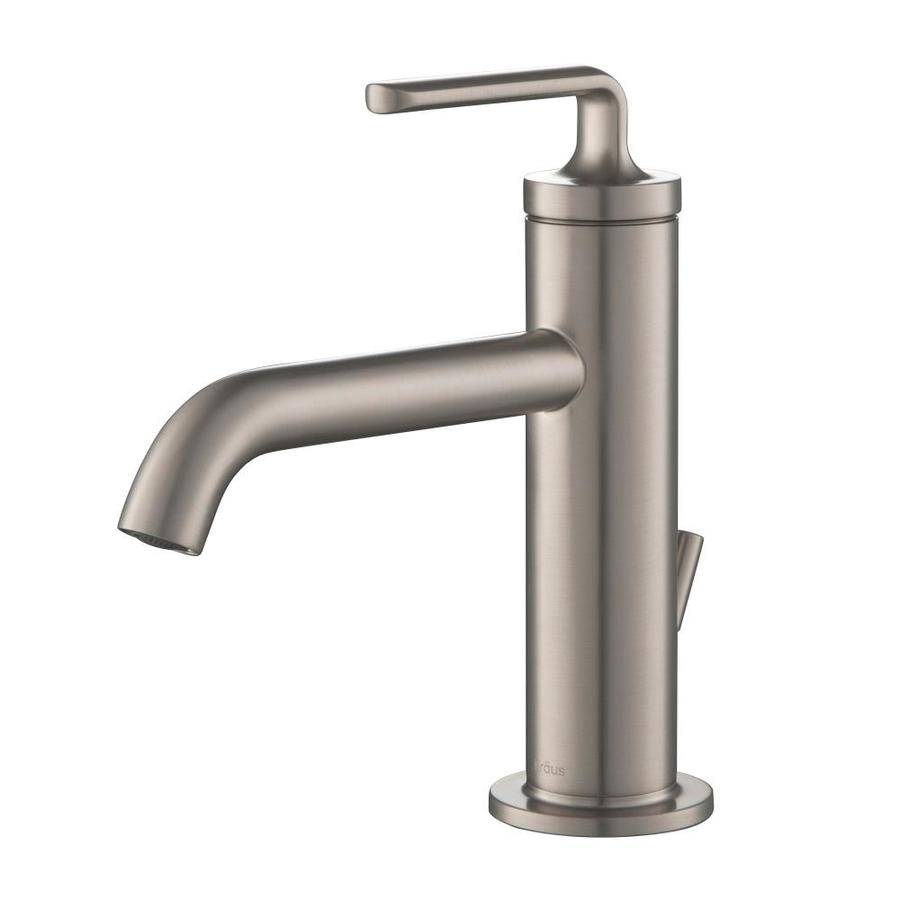 kraus spot free stainless steel 1 handle single hole watersense bathroom sink faucet with drain