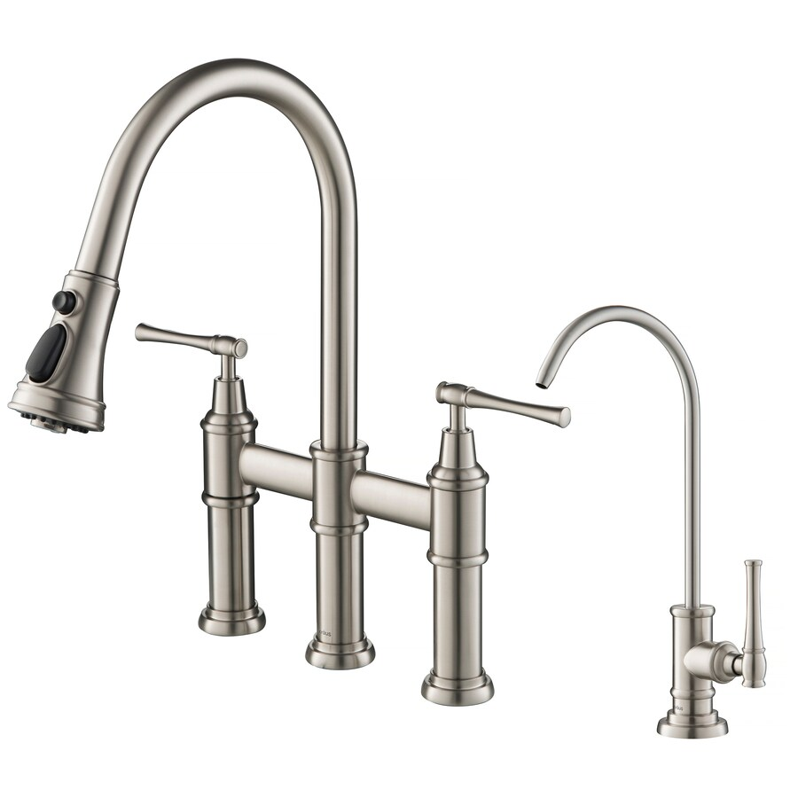 kraus brushed stainless steel cold water dispenser with hi arc spout