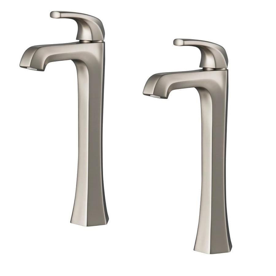 kraus esta spot free stainless steel 1 handle single hole watersense bathroom sink faucet with drain and deck plate