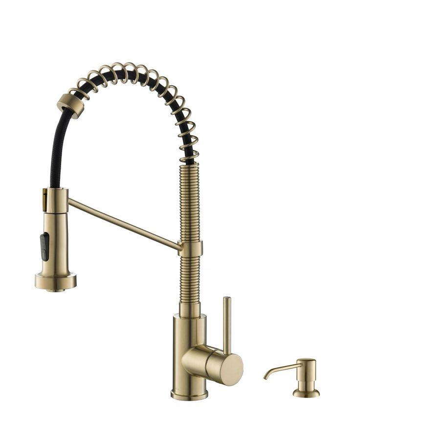 kraus spot free antique champagne 1 handle deck mount high arc touch kitchen faucet