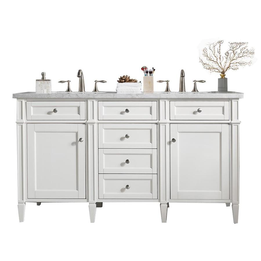 James Martin Vanities Brittany 60 In Cottage White Double Sink Bathroom Vanity With Carrara White Marble Top In The Bathroom Vanities With Tops Department At Lowes Com