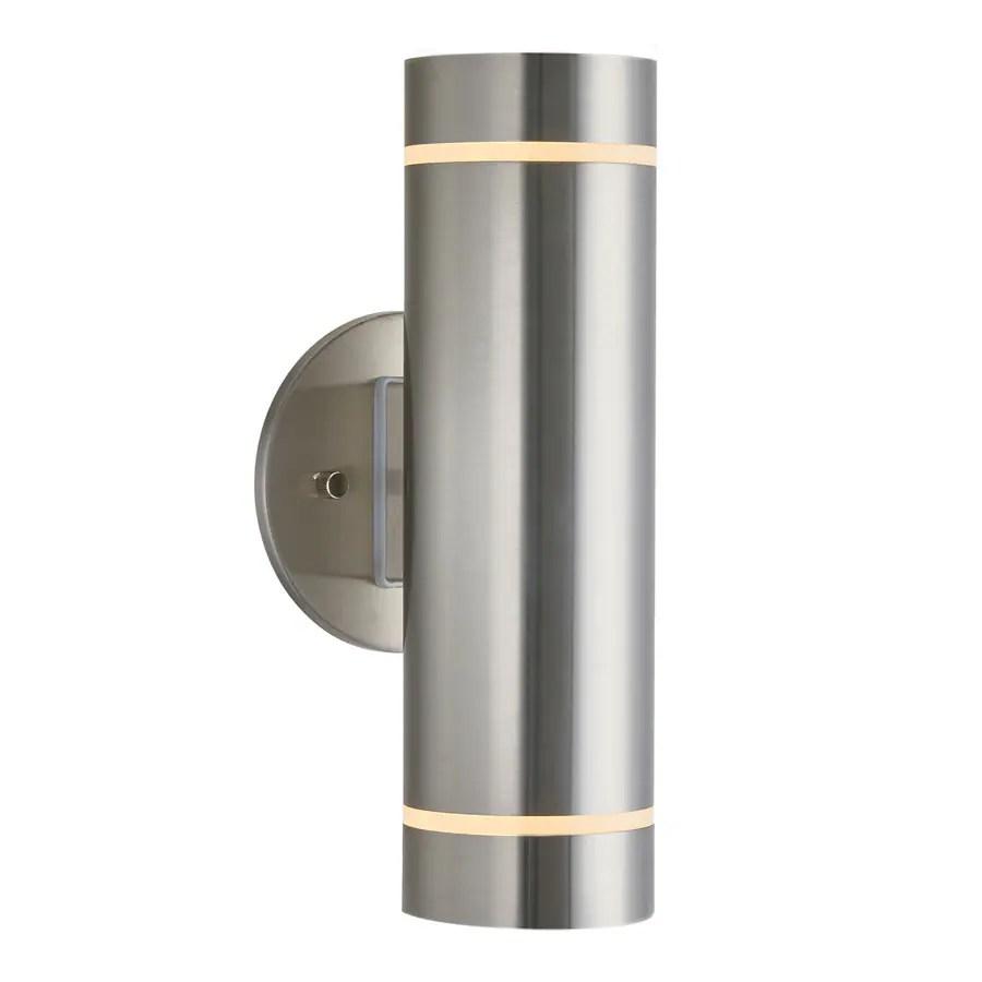 artika artika c7 3 3 in w 2 light stainless steel modern contemporary wall sconce lowes com
