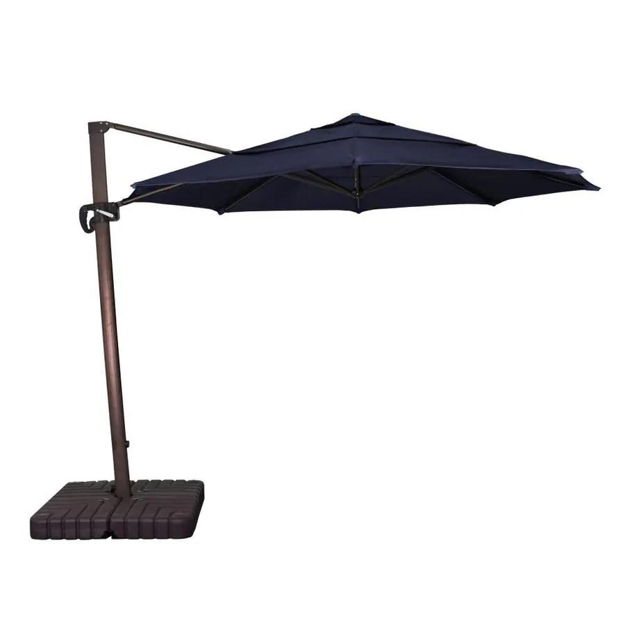 california umbrella 11 ft navy blue auto tilt cantilever patio umbrella with base