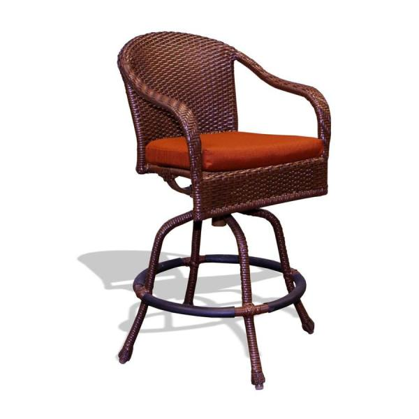 Tortuga Outdoor Lexington Wicker Metal Swivel Bar Stool Chair With Rave Brick Cushioned Seat