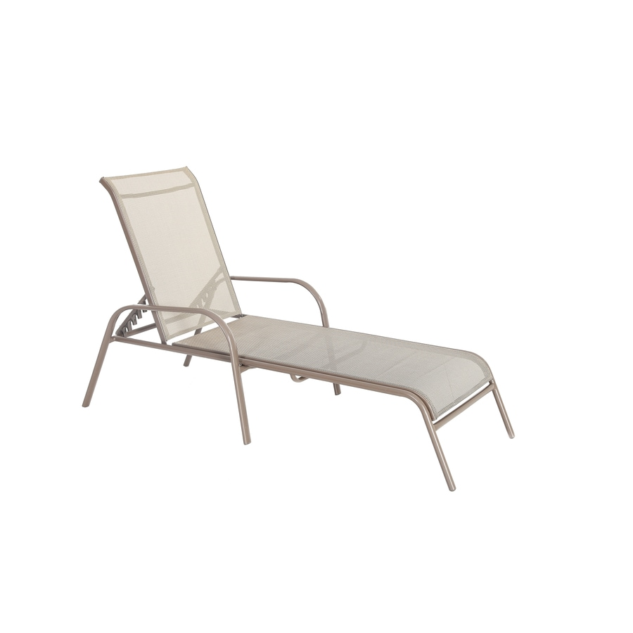 steel lounge chair ikea desk garden treasures driscol stackable chaise with tan sling