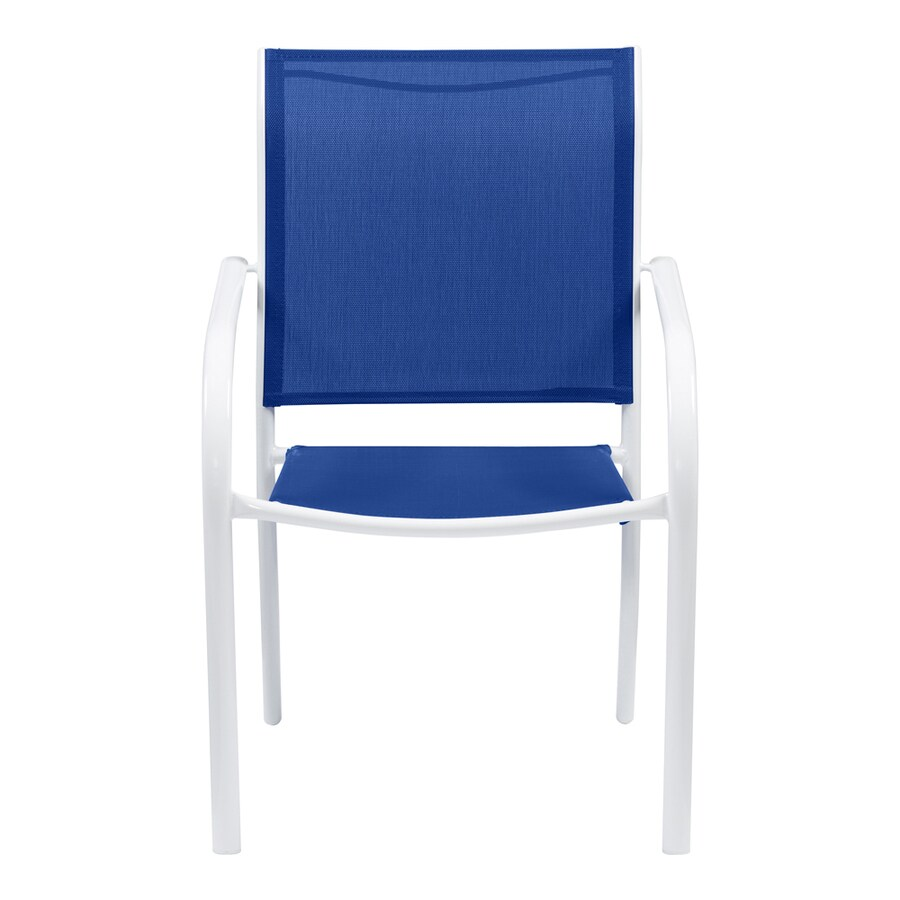 garden treasures pagosa springs stackable white metal frame stationary dining chair s with blue sling seat