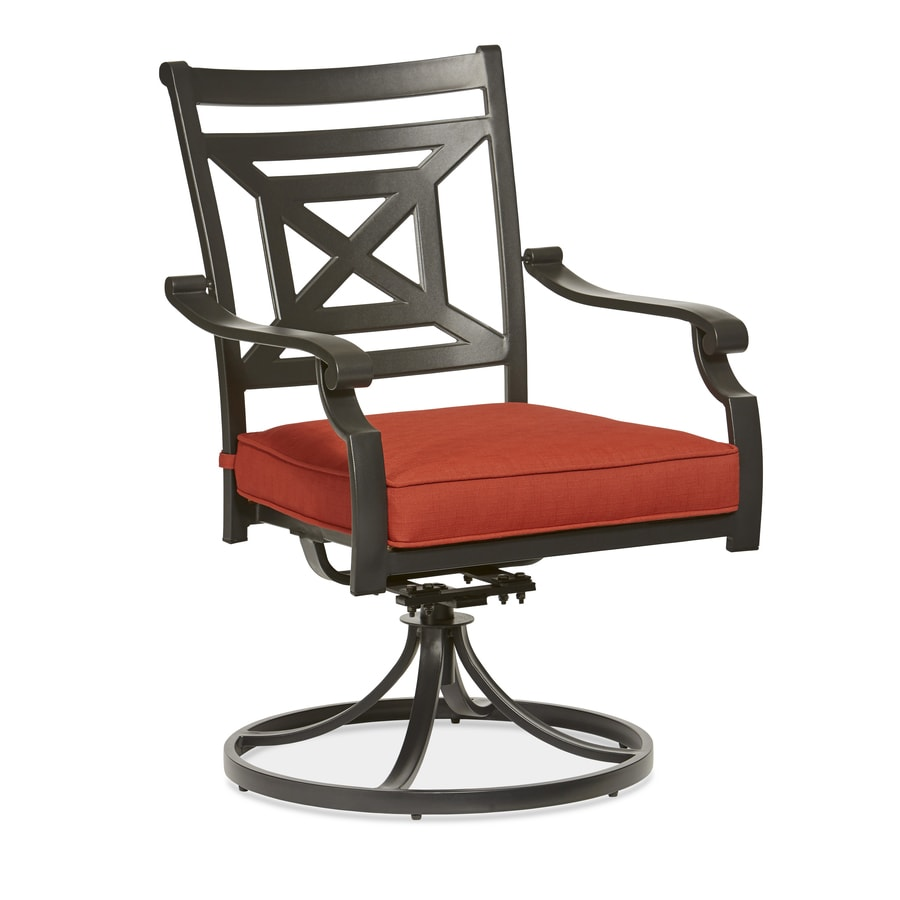 Red Patio Chairs Garden Treasures Kingsmead Set Of 2 Steel Dining Chair With Red