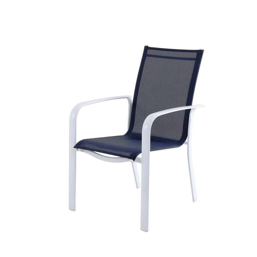allen roth truxton stackable white metal frame stationary dining chair s with blue sling seat