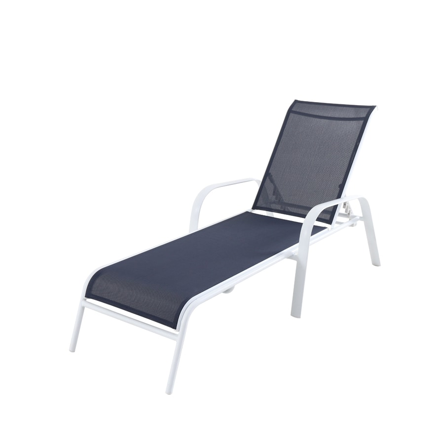 allen roth truxton stackable white metal frame stationary chaise lounge chair s with blue sling seat