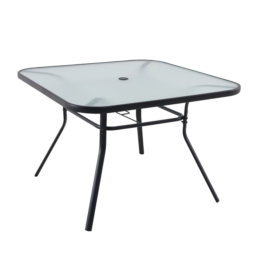 garden treasures pelham bay square outdoor dining table 42 in w x 42 in l with umbrella hole