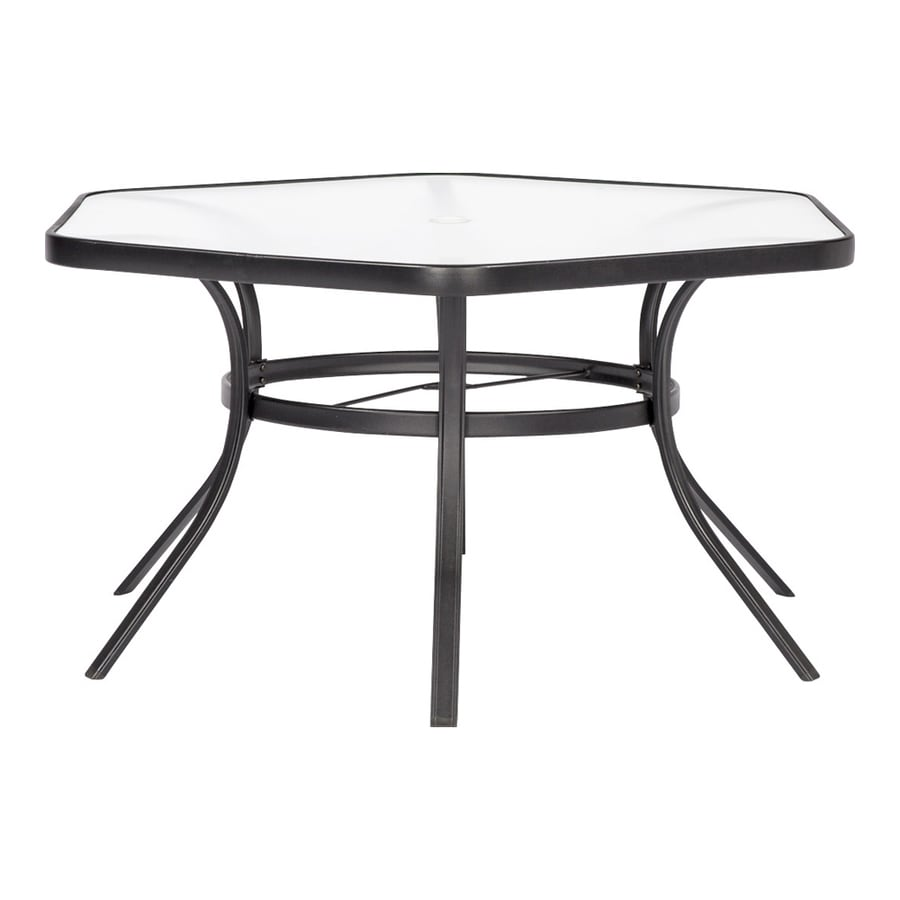 garden treasures pelham bay hexagon outdoor dining table 50 in w x 56 in l with umbrella hole lowes com