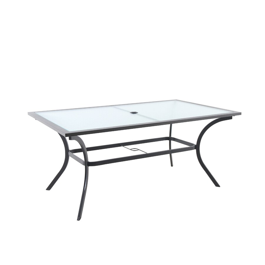 style selections vinehaven rectangle outdoor dining table 38 in w x 65 55 in l with umbrella hole