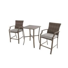 3 piece outdoor table and chairs nailhead dining pottery barn patio sets at lowes com garden treasures oakview terrace tan metal frame set with cushions