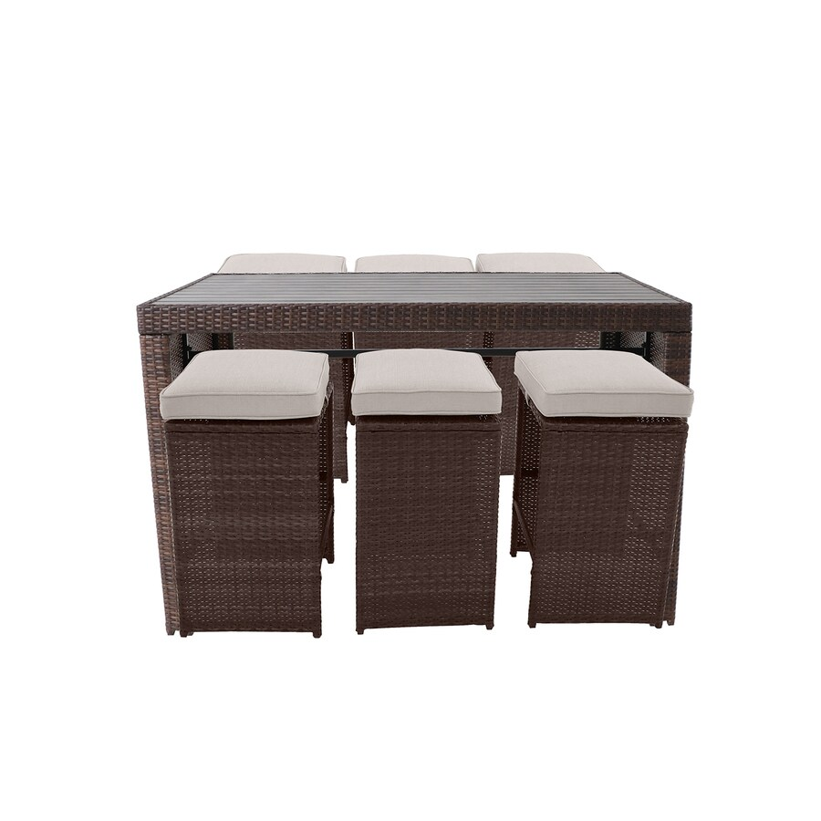 style selections weatherford 7 piece brown frame bar height patio set with tan cushion s included bar height