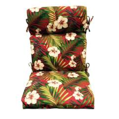 High Back Wicker Chair Cushions Brown Dining Chairs Garden Treasures 1 Piece Red Patio Cushion At Lowes Com