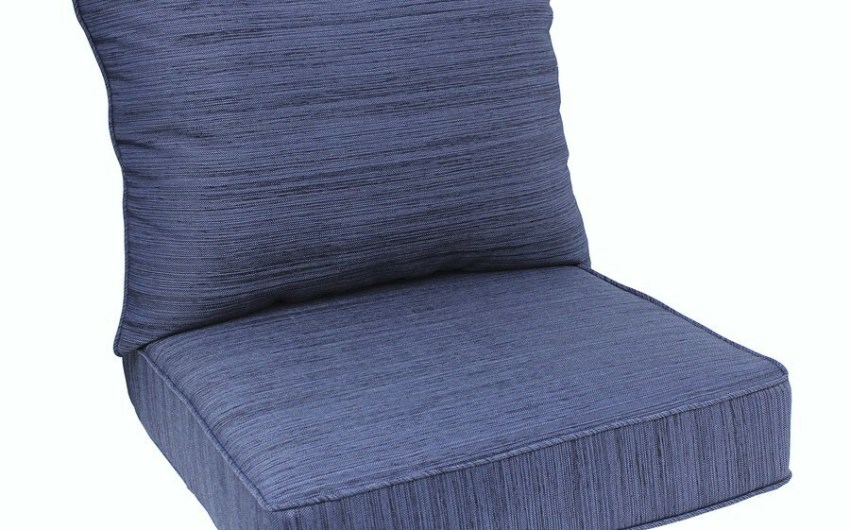 Shop Allen Roth Navy Texture Cushion For Deep Seat Chair At Lowes Com