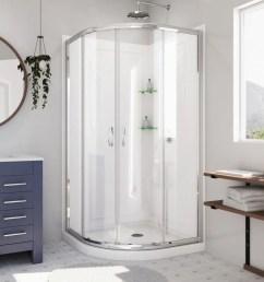 dreamline prime white acrylic wall floor round 3 piece corner shower kit actual  [ 900 x 900 Pixel ]