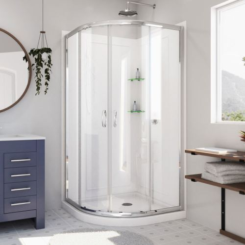 small resolution of dreamline prime white acrylic wall floor round 3 piece corner shower kit actual