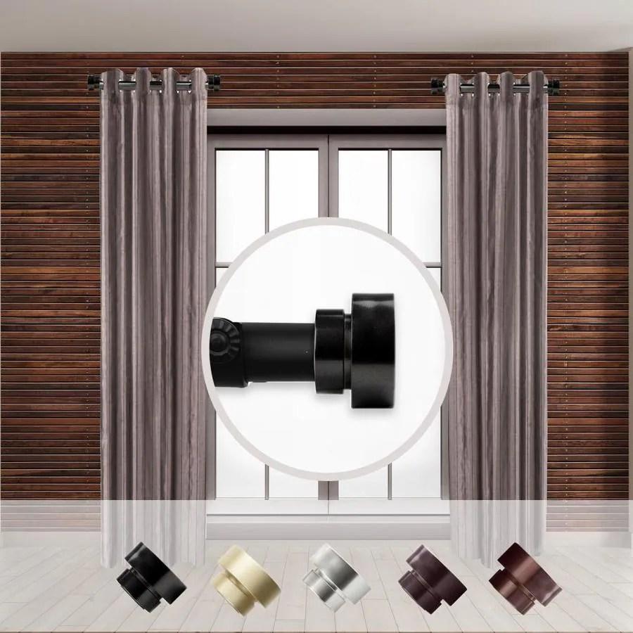 rod desyne 1 in 2 pack 12 in to 20 in black steel side curtain rod