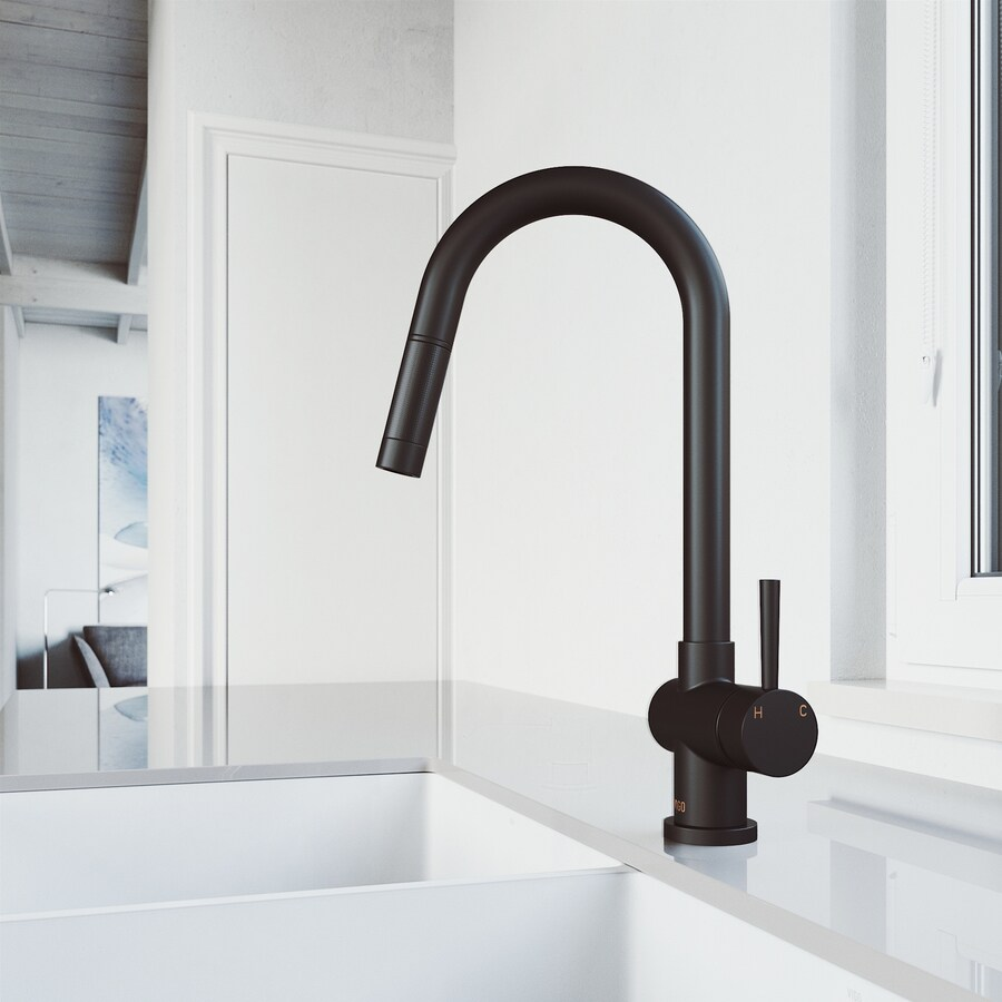 high flow rate kitchen faucets range hoods shop vigo gramercy matte black 1-handle deck mount pull ...