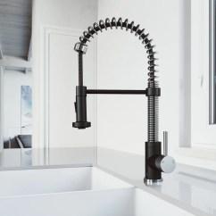 Bridge Faucets Kitchen Reclaimed Wood Tables Shop Vigo Edison Stainless Steel/matte Black 1-handle Deck ...